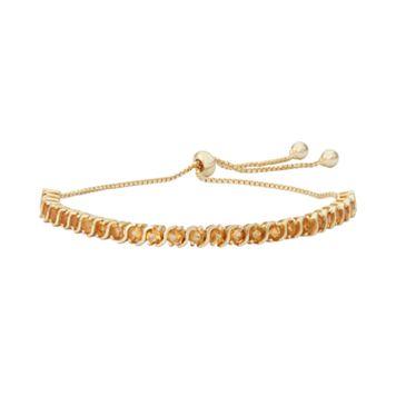 14k Gold Over Silver Citrine S-Link Lariat Bracelet