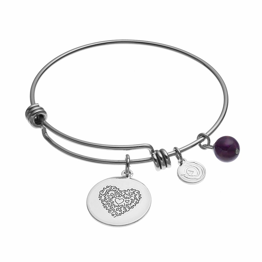 love this life Amethyst Inspirational Charm Bangle Bracelet