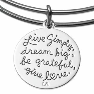 love this life Amethyst Inspirational Charm Bangle Bracelet