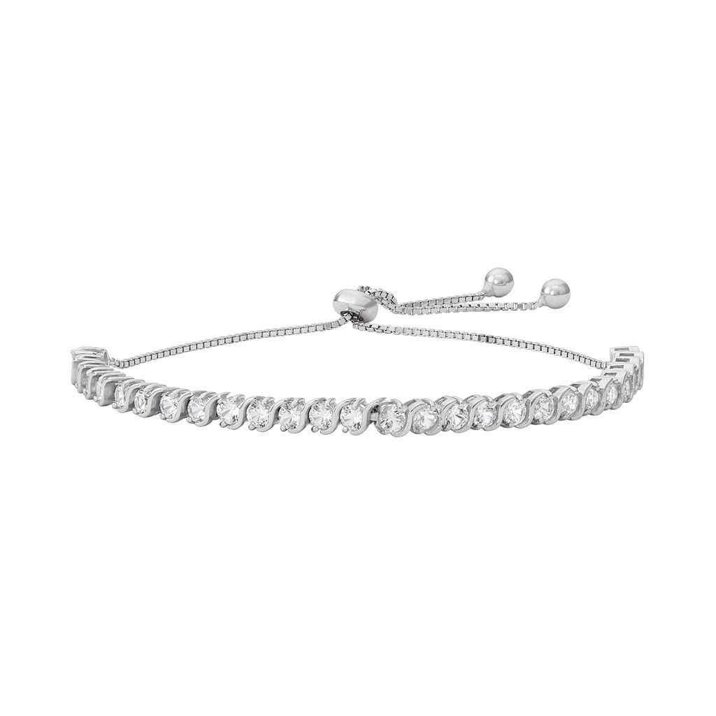 Sterling Silver Lab-Created White Sapphire S-Link Lariat Bracelet