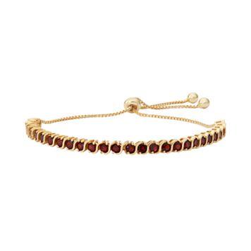 14k Gold Over Silver Garnet S-Link Lariat Bracelet