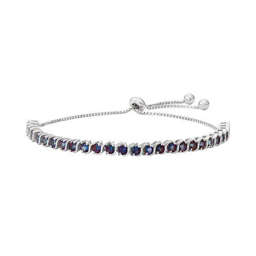 Sterling Silver Mystic Fire Topaz S-Link Lariat Bracelet