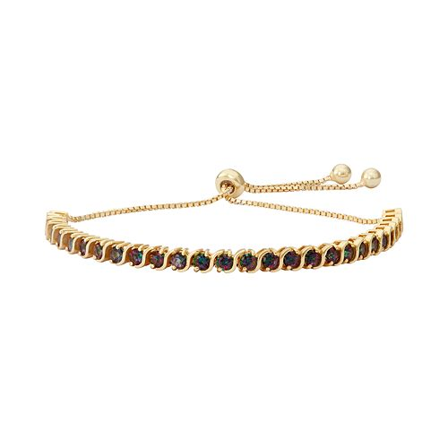 14k Gold Over Silver Mystic Fire Topaz S-Link Lariat Bracelet