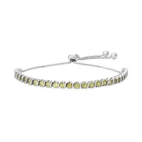 Sterling Silver Peridot S-Link Lariat Bracelet
