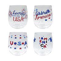Celebrate Americana Together 4-pc. Stemless Wine Glass Set
