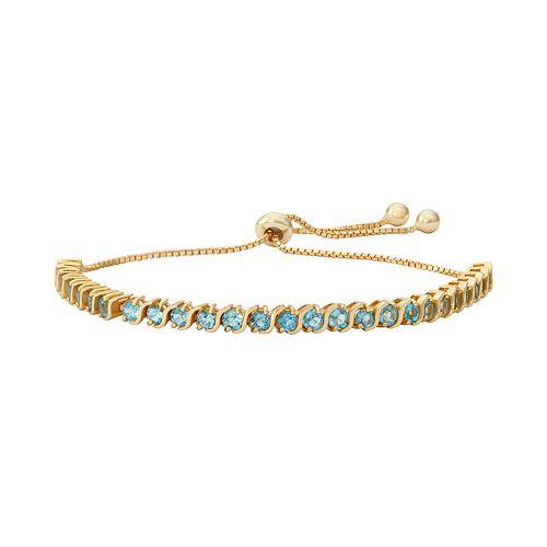 14k Gold Over Silver Blue Topaz S-Link Lariat Bracelet