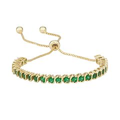 14k Gold Over Silver Simulated Emerald S-Link Lariat Bracelet