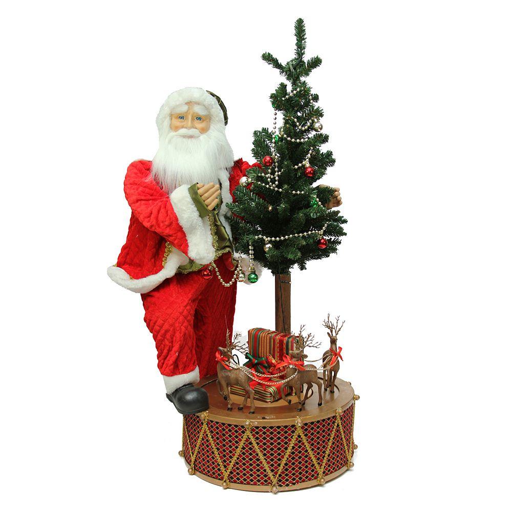 Pre-Lit Musical Santa & Rotating Drum Christmas Decor