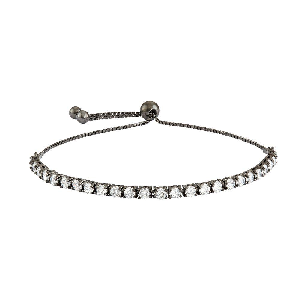 Sterling Silver Cubic Zirconia Lariat Tennis Bracelet