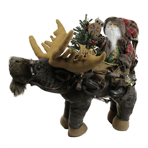 Rustic Santa & Moose Figure Christmas Decor