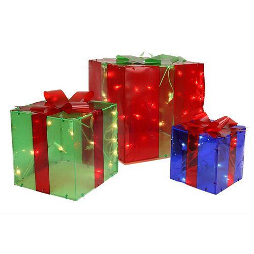pre lit gift box outdoor christmas decor 3 piece set