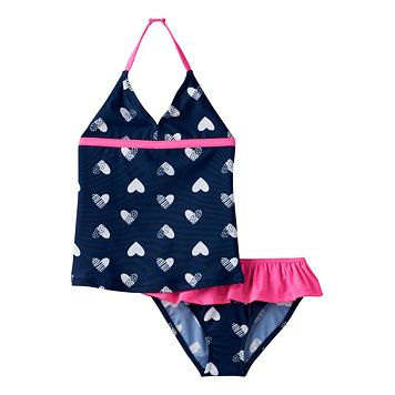 Girls 4-6x OshKosh B'gosh® Heart Printed Halter Tankini Top & Bottoms Swimsuit Set