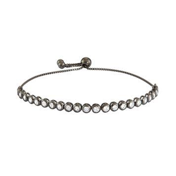 Sterling Silver Round Link Cubic Zirconia Lariat Tennis Bracelet