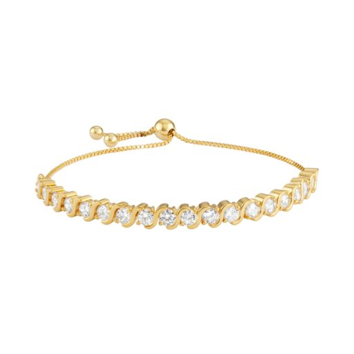 14k Gold Over Silver S Link Cubic Zirconia Bolo Tennis Bracelet