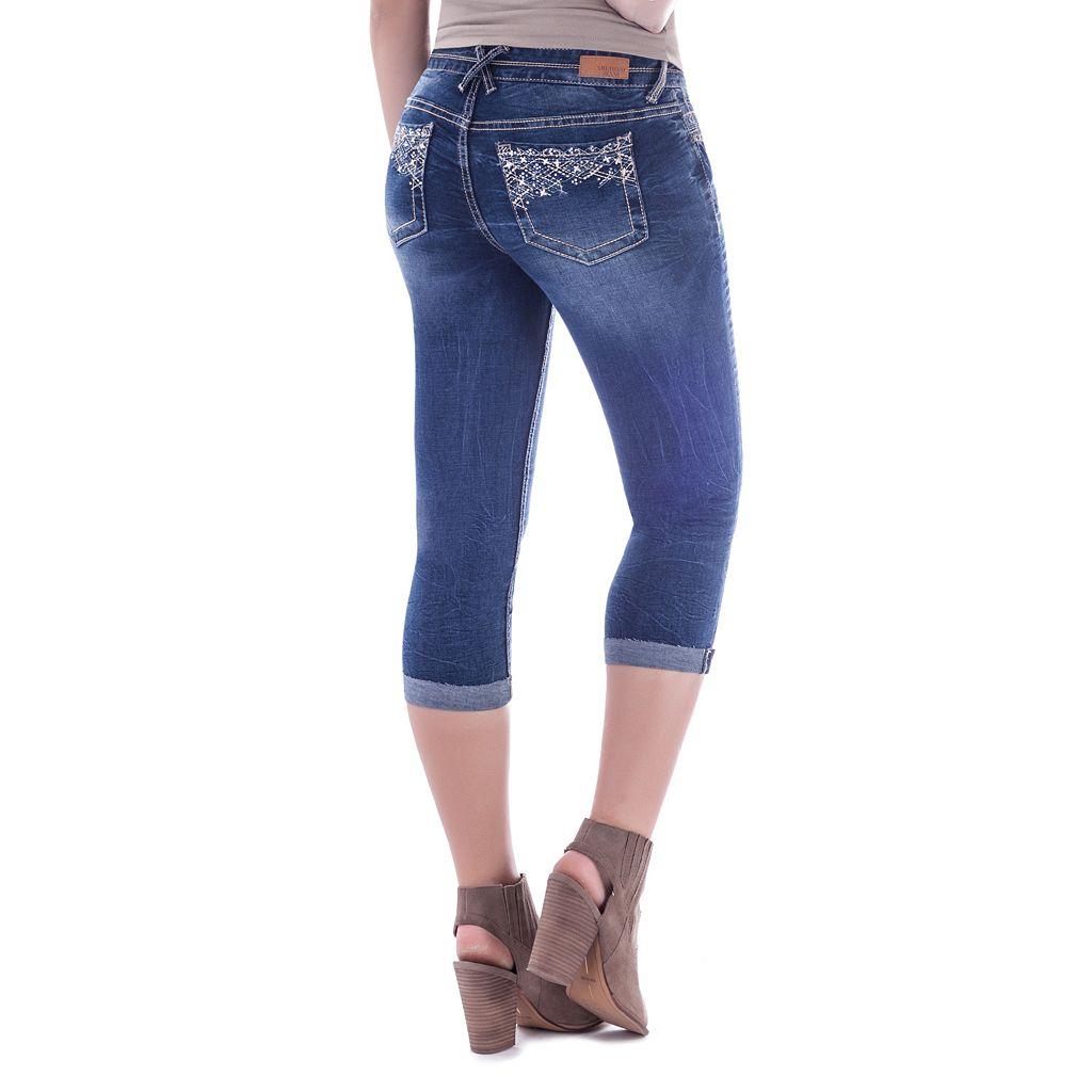Juniors' Amethyst Ripped Capri Jeans
