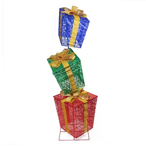 Pre-Lit Oversized Stacked Gift Box Outdoor Christmas Decor