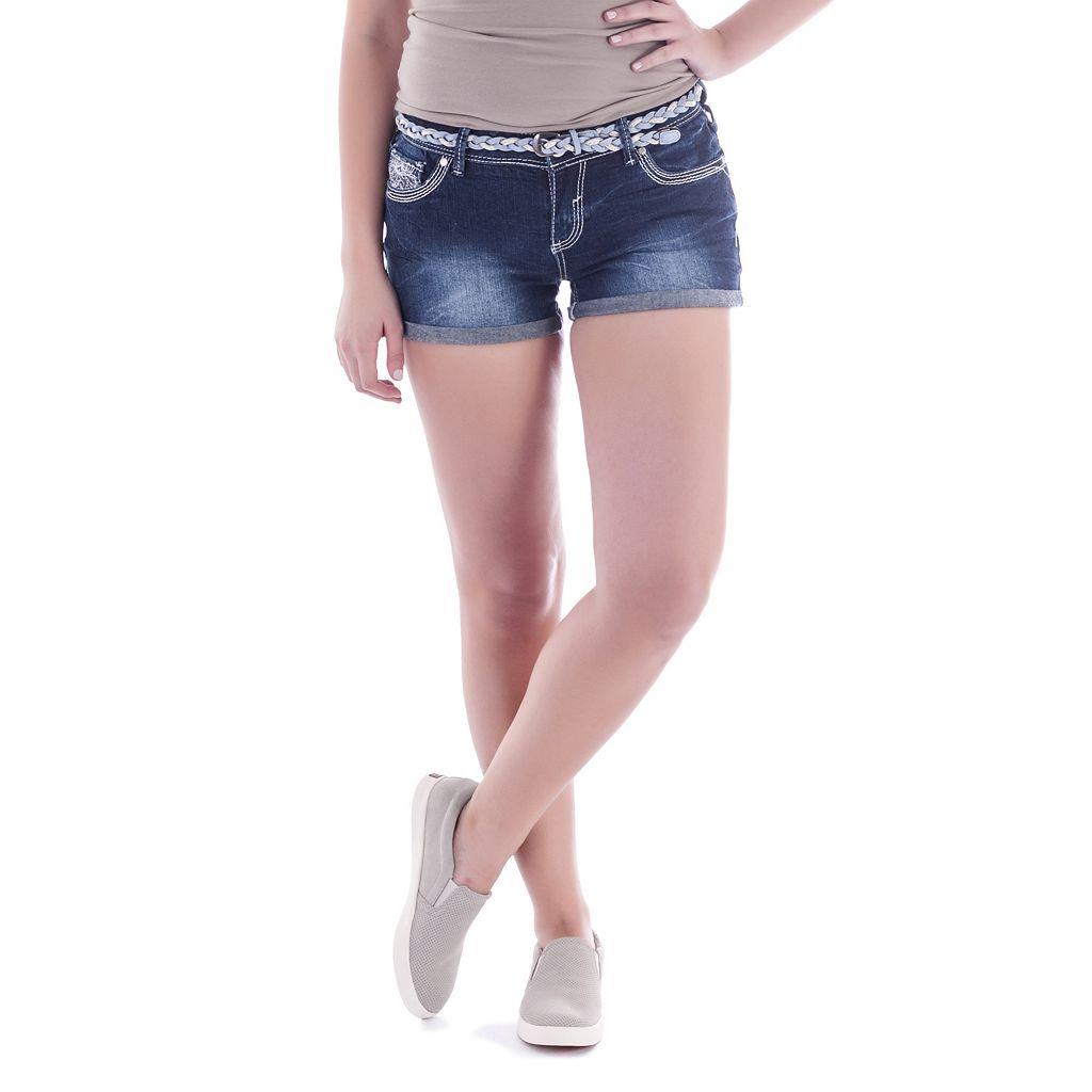 Juniors' Amethyst Denim Shortie Shorts