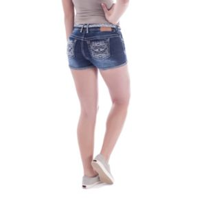 Juniors' Amethyst Denim Shortie Shorts