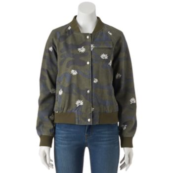 Juniors' Cloud Chaser Floral Camo Bomber Jacket