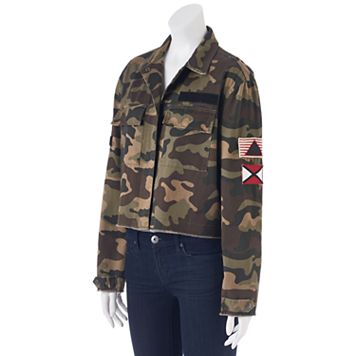 Juniors' Cloud Chaser Patches Camo Crop Jacket