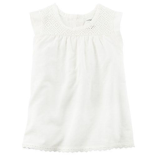 Girls 4-8 Carter's White Dobby Woven Tulip Hem Top