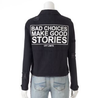 """Juniors' Cloud Chaser """"Bad Choices"""" Jean Jacket"""