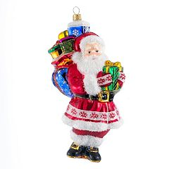 Kurt Adler Polonaise Glass Fairisle Santa Christmas Ornament