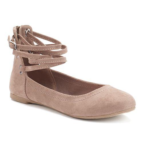 SO® Women's Ankle-Wrap Ballet Flats