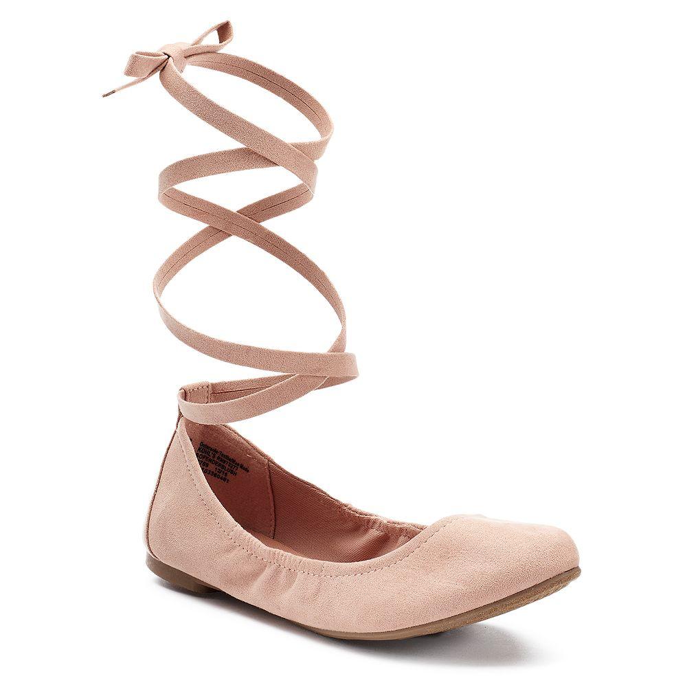 SO® Women's Lace-Up Ballet Flats