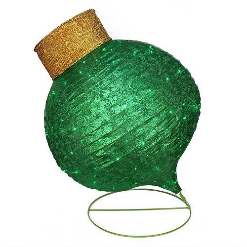 Pre-Lit Oversized Green Ornament Outdoor Christmas Decor