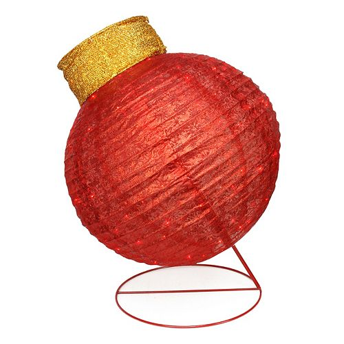 Pre-Lit Oversized Red Ball Ornament Outdoor Christmas Decor