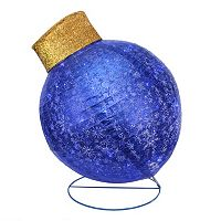Pre-Lit Oversized Blue Ball Ornament Outdoor Christmas Decor