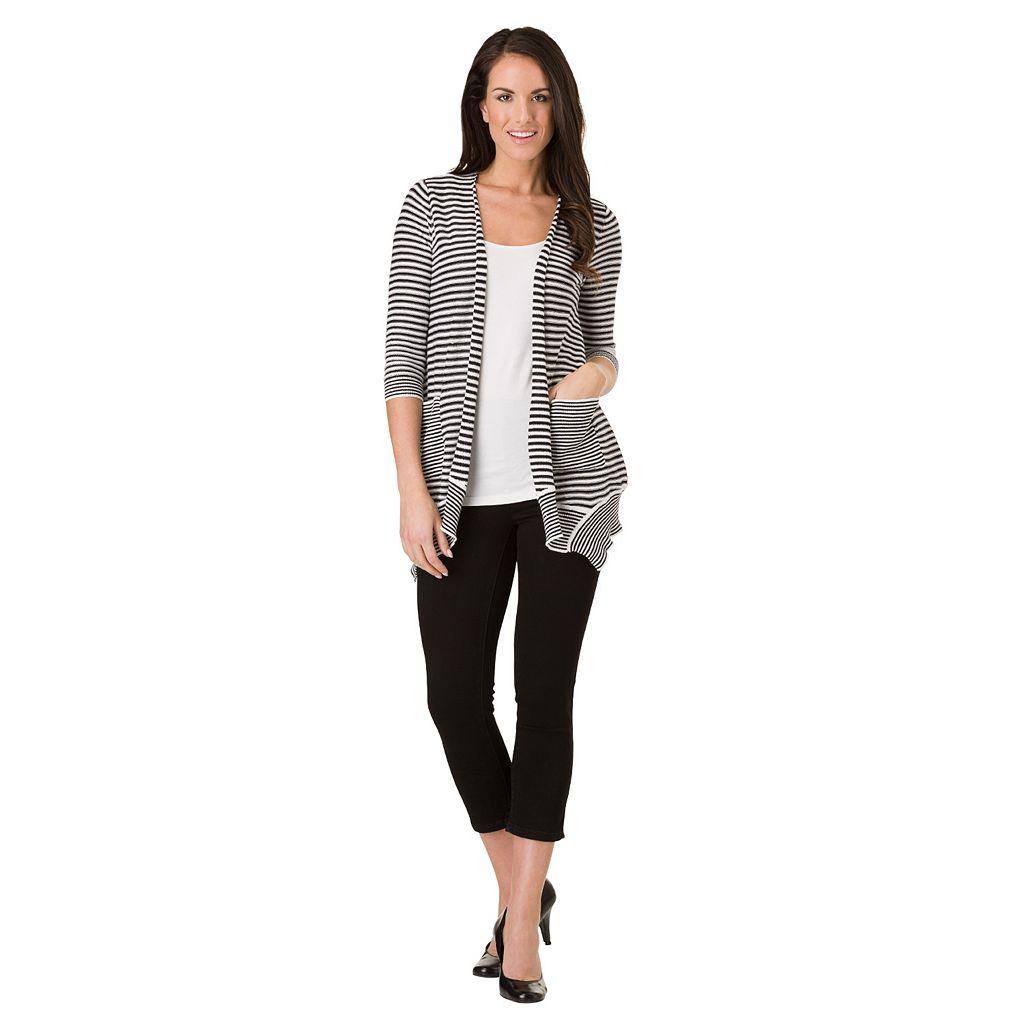 Women's Haggar Striped Open-Front Cardigan