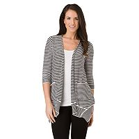 Women's Haggar Striped Open-Front Cardigan
