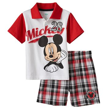 Disney's Mickey Mouse Baby Boy Graphic Polo & Plaid Shorts Set