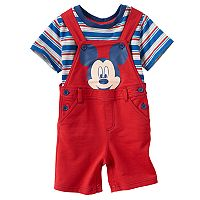 Disney's Mickey Mouse Baby Boy Striped Tee & Graphic Shortalls Set