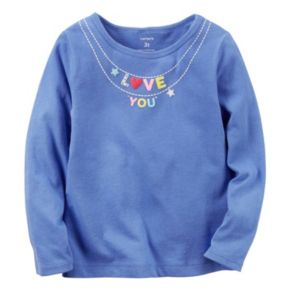 """Toddler Girl Carter's Long Sleeve """"Love You"""" Charm Necklace Graphic Tee"""