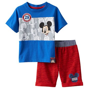 Disney's Mickey Mouse Baby Boy Colorblock Tee & Space-Dye Shorts Set