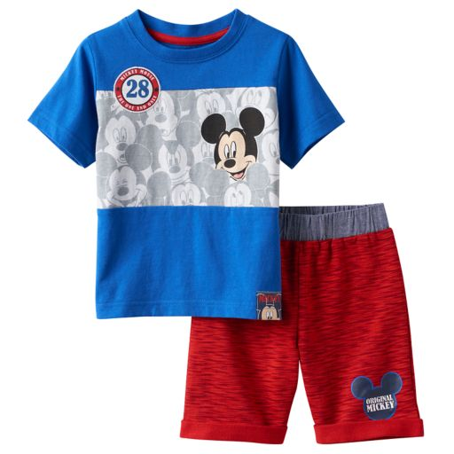 Disney's Mickey Mouse Baby Boy Colorblock Tee & Space-Dye Shorts Set