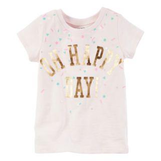 "Toddler Girl Carter's Short Sleeve ""Oh Happy Day"" Foil Graphic Tee"