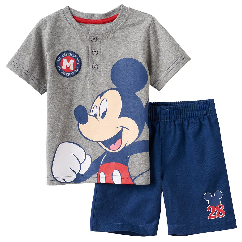 Disney's Mickey Mouse Baby Boy Henley & Shorts Set