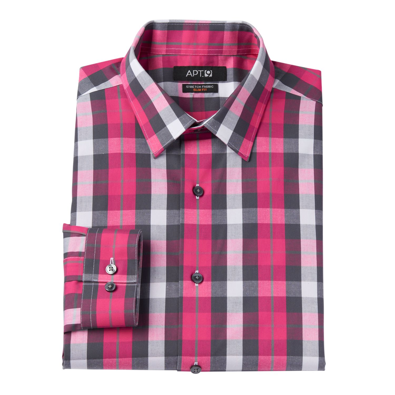 Mens Pink Plaid Shirt