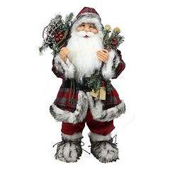 24-in. Plaid Alpine Standing Santa Christmas Decor