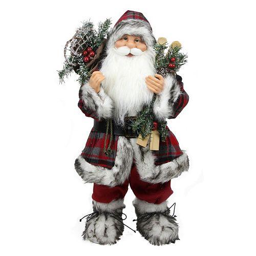 24-in. Plaid Alpine Standing Santa Christmas Decor