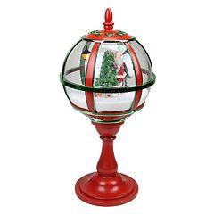 Musical Light-Up Snowy Santa Street Lamp Christmas Table Decor