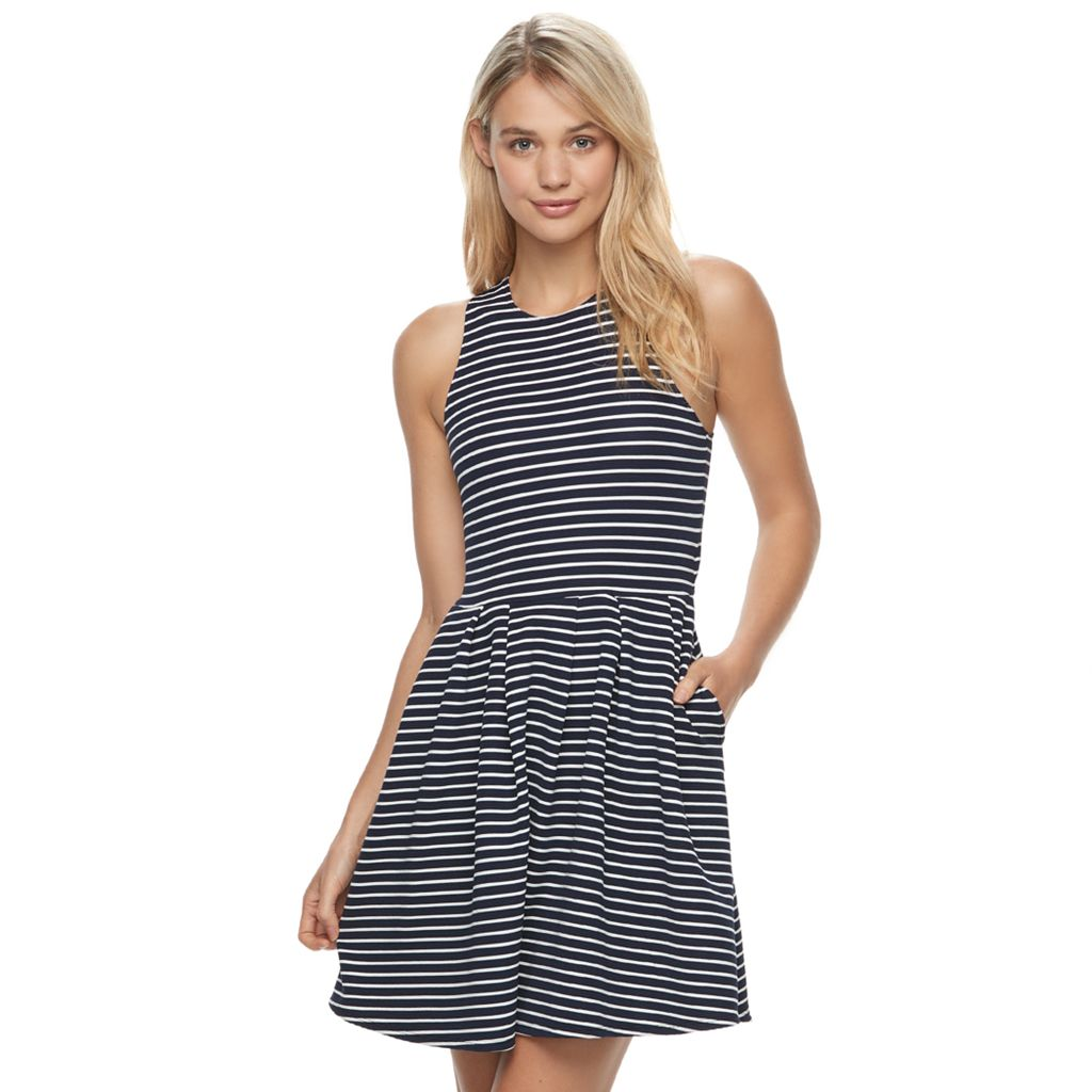 Juniors' SO® Textured Striped Skater Dress