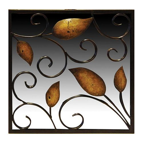 New View Rustic Leaves Square Wall Mirror
