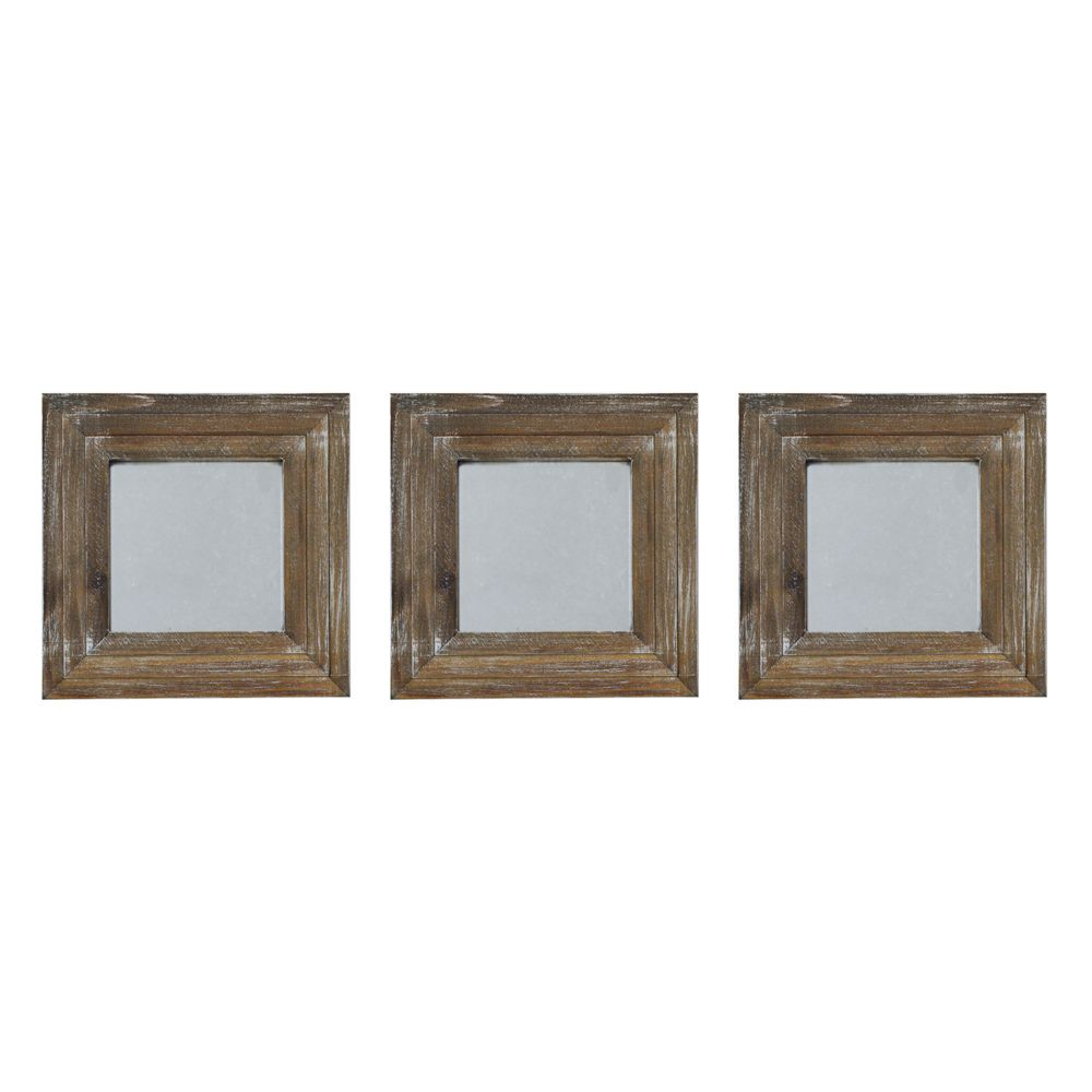 Wall Mirror Set Of 3 view gray wash square 3-piece wall mirror set