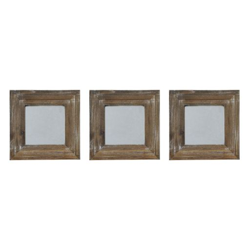 New View Gray Wash Square 3-piece Wall Mirror Set