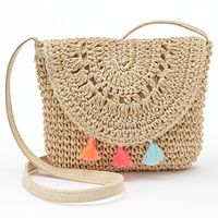 Girls 4-16 Crochet Tassel Crossbody Bag